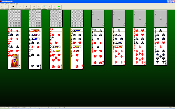 FreeCell on Pretty Good Solitaire for Windows